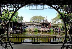 A partition door in Suzhou garden residence (Garden of Fisherman's Net)