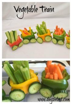 Why not try this super fun vegetable train and party food idea for kids. It's a great way to get kids to eat vegetables. This is a fun vegetable train full of colour and perfect for encouraging kids to eat veggies at a birthday party. Cute Food, Good Food, Healthy Snacks, Healthy Eating, Healthy Kids Party Food, Parties Food, Easy Kid Party Food, Healthy Birthday Snacks, Holiday Parties