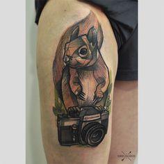 Squirell #tattoo #cykada #camera #squirell