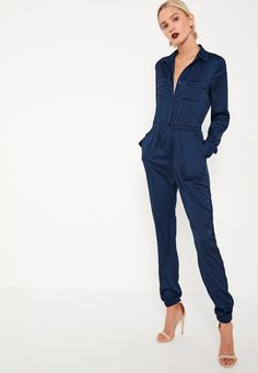 Missguided - Navy Embroidered Back Satin Shirt Jumpsuit