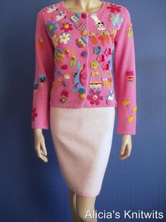 Michael simon pink easter bunnies baskets eggs sweater s | Easter ...