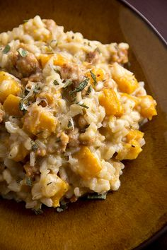 Roasted Pumpkin Risotto with Sweet Italian Sausage, Apples and Gruyere.