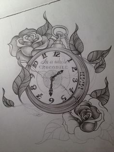 rose and pocket watch tatoos | Gothic themed grey-wash tattoo.