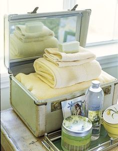Like the idea of linens in the guests room. Then guests don't have to feel weird searching through cabinets and closets.
