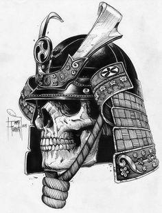 Эскиз черепа самурая в графике
