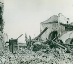 Monument Men-The ruins of an Italian church which the retreating German army dynamited at Baia e Latina, near Caserta, in an attempt to block the road in front of the advancing American Fifth army. AFHQ, Oct. 31, 1944. (original text)