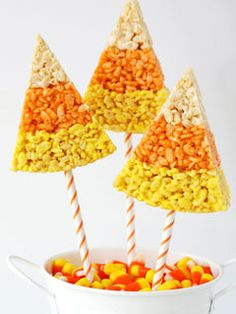 Halloween treat ideas Candy corn krispie treats