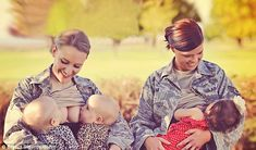 Proud: Servicewomen Terran Echegoyen-McCabe, left, breastfeeds her twin daughters while wearing her uniform alongside colleague Christina Luna and her little girl at Fairchild Airforce Base outside Spokane, Washington. The picture has sparked debate.
