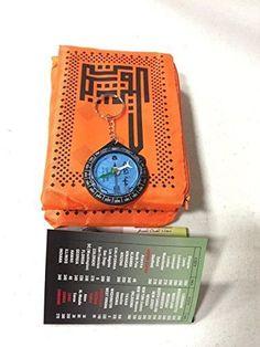 key Chain Compass, Metal Corner Islamic Travel Prayer Mat,Portable Rug, Pocket Sized Carry Bag Waterproof Islamic Prayer Rug,Qibla finder , Orange Color US Seller