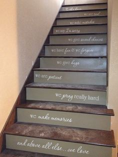 Words on staircase.
