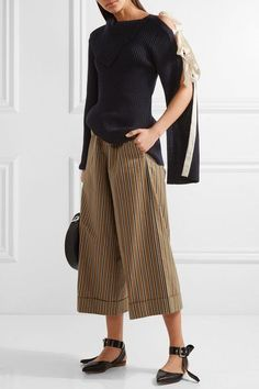 Monse - Striped Cotton-blend Twill Wide-leg Pants - Tan - US14