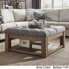 Family room / Lennon Pine Square Storage Ottoman Coffee Table by iNSPIRE Q Artisan ([Grey Linen]- Button Tufts) (Fabric) Storage Ottoman Coffee Table, Square Storage Ottoman, Diy Ottoman, Ottoman Table, Diy Coffee Table, Square Ottoman Coffee Table, Ottoman Decor, Large Square Ottoman, Fabric Coffee Table