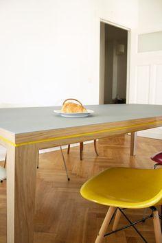 desk dining table R10 solid oak / Linoleum 200cm x por BPistorius