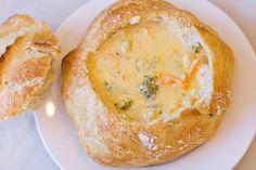 Yum, broccoli cheddar soup in homemade bread bowls. I gotta make this!