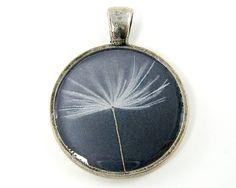 Dandelion Pendant - Fluffy Seed Gray White Silver Minimalist Round Photo Jewelry. $9.00, via Etsy.