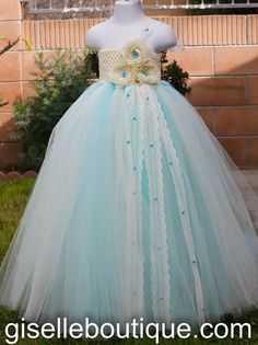 Tiffany Blue with Ivory Flowers Tutu Dress. by giselleboutique