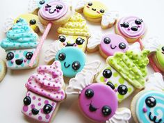 Kawaii Candy and Cupcake shaped cookies by Lille Kage Hus