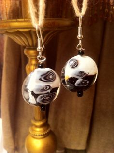 Sterling Silver Dangle Earrings with Black and White Glass Beads!