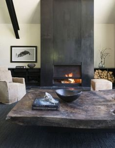 Carney Logan Burke Architects Build Beautiful Fishing Cabin with a Sweeping View of the Teton Mountain Range Modern Fireplace Mantles, Cabin Fireplace, Fireplace Doors, Concrete Fireplace, Living Room With Fireplace, Fireplace Surrounds, Fireplace Design, Living Rooms, Fireplaces