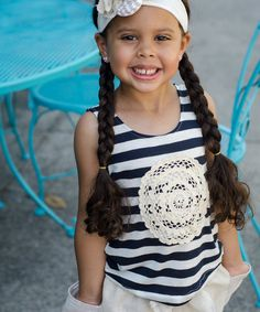 Look at this Navy Stripe Doily Tank - Infant, Toddler & Girls on #zulily today!