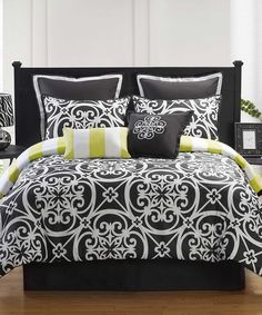 Rest and relax in sophisticated splendor with this luxurious comforter set. Completely classy and chic, it will create a cozy bedroom atmosphere perfect for snuggling up in. Twin XL includes comforter, sham, European sham, small throw pillow, large throw pillow and bed skirtFull includes comforter, two shams, two European shams, small throw pillow, large t...