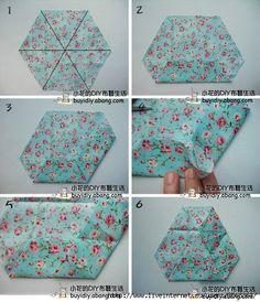 fabric origami tutoriai-flower 2-part 1