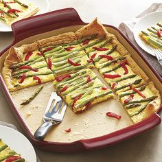 Asparagus & Roasted Red Pepper Tart - The Pampered Chef® http://www.pamperedchef.com/pws/kball/recipe/Main+Dishes/Asparagus+%26+Roasted+Red+Pepper+Tart/843096
