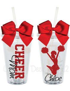 Cheer Mom 16oz Personalized Acrylic Tumbler by LylaBugDesigns, $15.00