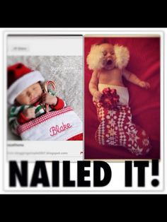 Baby's first Christmas stocking photo turned baby's first Christmas #pinterestfail