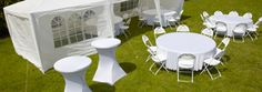 Tente de reception, mange debout, tables, chaises et housses. Parasol, Decoration, Tables, Dining Table, Furniture, Home Decor, Lobby Furniture, Chairs, Slipcovers