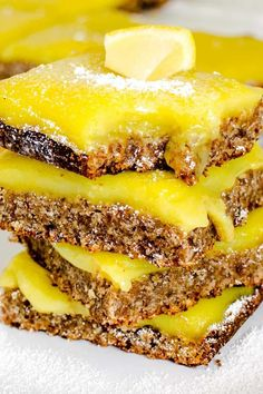 These oil free Vegan Lemon Bars are zesty, tart and a sweet dessert. Its crispy crust is made with almond flour and flax meal then filled with gooey curd. It's simple and bursting with tangy flavors along with the perfect balance of sweetness | kiipfit.com Sweet Desserts, Just Desserts, Dessert Recipes, Vegan Lemon Bars, Whole Food Recipes, Vegan Recipes, Refreshing Desserts, Vegan Sweets, Vegan Baking