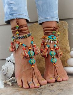GYPSY summer BAREFOOT SANDALS sole less sandals beach wedding rainbow dance jewelry slave anklet foot jewelry bohemian shoes unique Bohemian Sandals, Boho Shoes, Bohemian Beach, Boho Gypsy, Bohemian Jewelry, Women's Shoes, Fringe Sandals, Ankle Wrap Sandals, Bare Foot Sandals