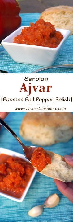 Get ready to fall in love with grill-roasted red peppers. One bite of Ajvar and you will want to put this Serbian red pepper relish on everything from bread to meat and even veggies! Pepper Relish, Grilled Roast, Good Food, Yummy Food, Roasted Red Peppers, Dip Recipes, Relish Recipes, Calories, Recipes