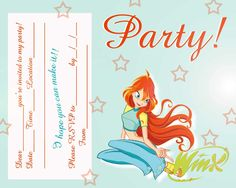 FREE Winx Club Fairis Printable Party Invitation , download and print, let's get party started.