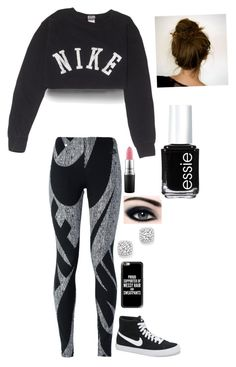 """NIKE"" by awesomel4125 on Polyvore featuring NIKE, Casetify, Bloomingdale's, MAC Cosmetics and Essie"