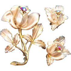 Florenza 3-Dimensional Enameled & Rhinestone Rose Brooch & Earring Set. Vintage Jewelry under $25 at Ruby Lane @Ruby Lane