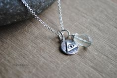 ALL-SEEING EYE sterling silver faceted green amethyst briolette necklace clasp and length choice by srgoddess