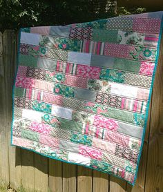 Simple and quick quilt using 12 fat quarters, the outcome all depends on the fabric choices and colors, from: My Quilt Infatuation: Beginner Quilt Along