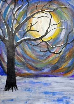 winter scene. On canvas. introduction to acrylics
