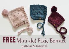 mini dot pixie bonnet, free pattern and tutorial, newborn bonnet, knit bonnet, free bonnet pattern, knit bobbles
