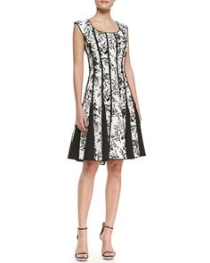 Sleeveless Lace-Print Cocktail Dress, Black/White by Tadashi Shoji at Neiman Marcus.*Would want to see it on to decide if it's dressy enough, but I have gorgeous shoes already.