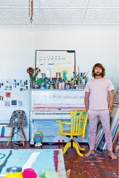Daimon Downey's Sydney home apartment interior, artists, artist studios, the piano, design interiors, homes, art supplies, bold colors, sydney