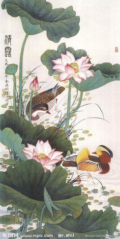 Botanical illustration with two ducks, Chinese Lotus Painting, Japan Painting, Silk Painting, Lotus Kunst, Lotus Art, Geisha Kunst, Geisha Art, Korean Painting, Chinese Painting