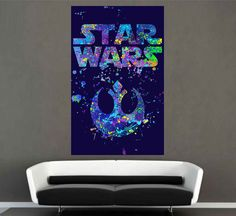 kcik1716 Full Color Wall decal poster space Watercolor paint splashes STAR WARS Rebel Alliance Living children's room