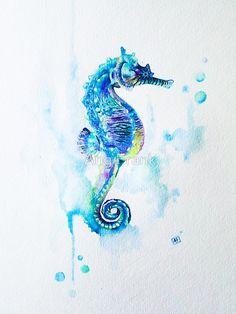 Watercolor Seahorse by Ang Frank