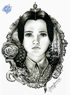Wednesday Friday Addams drawing made with pencil on paper. Art, draw, sketch, drawing, artistic, skull, tattoo, roses, boceto, realistic, realista, arte. Dibujo Merlina Addams, Lápiz sobre papel.