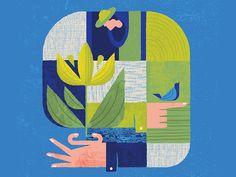 The Gardener color bird flower people pattern geometric garden gardener human illustration Art And Illustration, Illustration Example, People Illustration, Graphic Design Illustration, Illustrations Posters, Packaging Design Inspiration, Graphic Design Inspiration, Editorial Design, Grafik Design