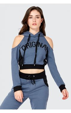Cold Shoulder Crop Hoodie – Women's Hoodies Sporty Outfits, Teen Fashion Outfits, Girl Fashion, Girl Outfits, Fashion Dresses, Cute Outfits, Womens Fashion, Sport Mode, Looks Chic