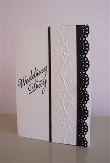 handmade wedding card from LaLatty Stamp 'N Stuff ... black and white ... MS lacey scallop border punch ... column of embossing folder twigs ... like the layout ... would also look great in other two-color cards ...