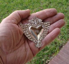 Heart Milagro Charm Gold Tone With Wings Ex Voto Milagros Nicho Style Hearts